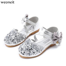 Weoneit Children Princess Glitter Sandals Kids Girls Soft Shoes Square Low heeled  Dress Party Shoes Pink  Silver Gold Size21 36-in Sandals from Mother ... 160ee1bcb711