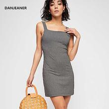 Летнее черно белое клетчатое платье danjeaner в стиле ретро