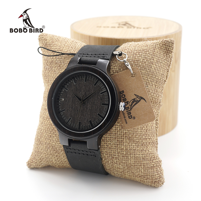 BOBO BIRD Mens Watches Ebony Wood Quartz Watches with Genuine Leather Band in Gift Box dropshipping bobo bird brand new sun glasses men square wood oversized zebra wood sunglasses women with wooden box oculos 2017