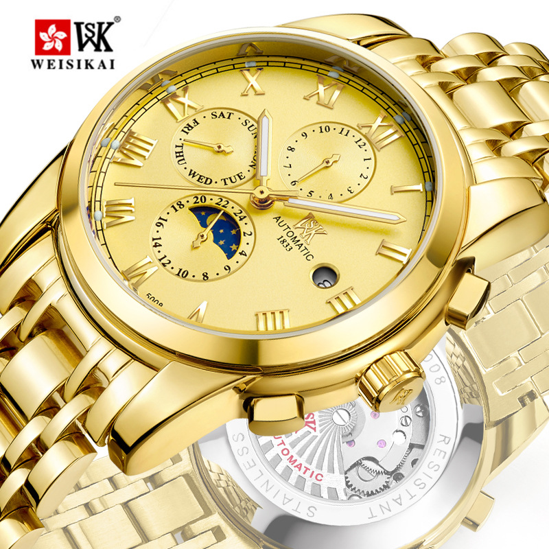 Dropshipping New Top Luxury Brand Stainless Steel Gold Watch Men Multifunction Waterproof Mechanical Wrist Watches Gift Clock men luxury automatic mechanical watch fashion calendar waterproof watches men top brand stainless steel wristwatches clock gift