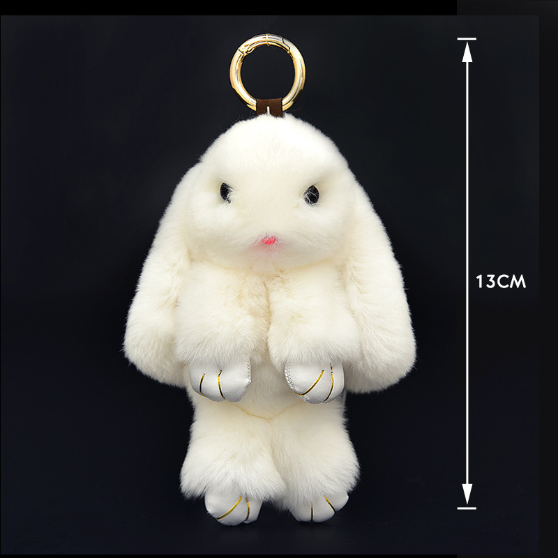 Cute Mini Rabbit Arnab Asli Pom Pom Key Rantaian Wanita Trinket Bunny Toy Doll Bag Car Key Ring Monster Keychain Party Jewelry Gift