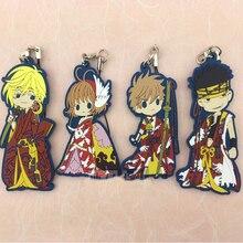 6.5cm Anime Keychain Card Captor Sakura Li Syaoran Kinomotosakura Risha Oran Keyring Phone Resin Rubber Keychain Pendant