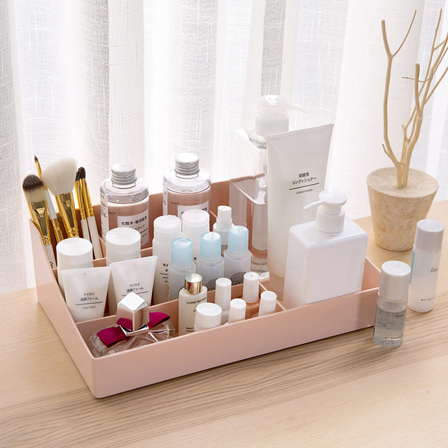 5 Grids Simple Style Makeup Storage Box Plastic Cosmetic Organizer Makeup  Sundry Storage Holder For House