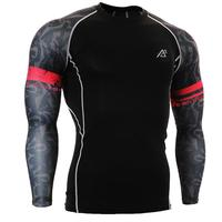 2017 Muscle Men Cycling Compression Tight Skin Shirt Long Sleeves 3D Prints MMA Rashguard Base Layer