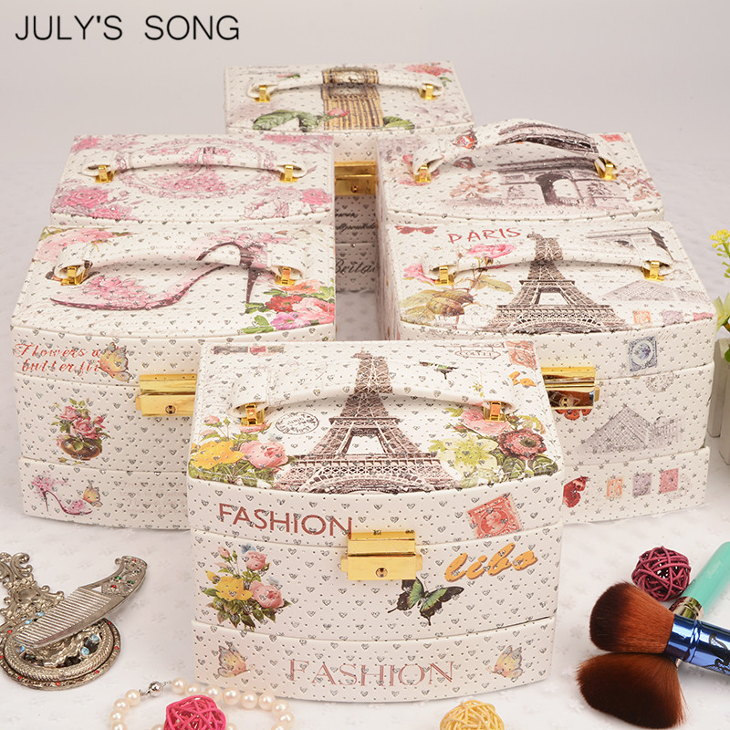 Image 5 - JULYS SONG Jewelry Organizer Box Leather Earring Storage Box 