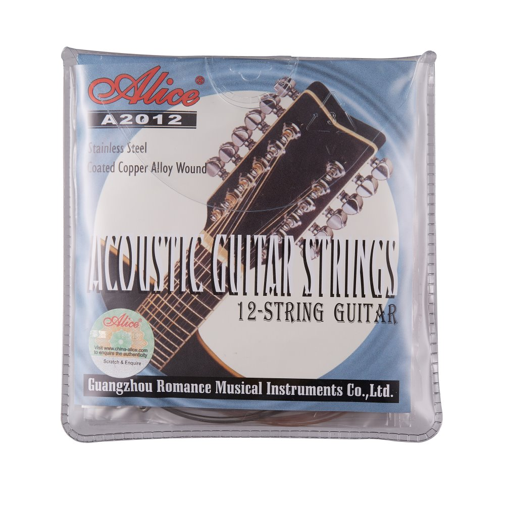 5 Sets Alice 12 String Acoustic Guitar Strings Coated Copper Alloy Wound Steel Core A2012 high quality alice a105bk h hard tension black nylon silver plated classical guitar strings copper alloy wound 1st 6th strings