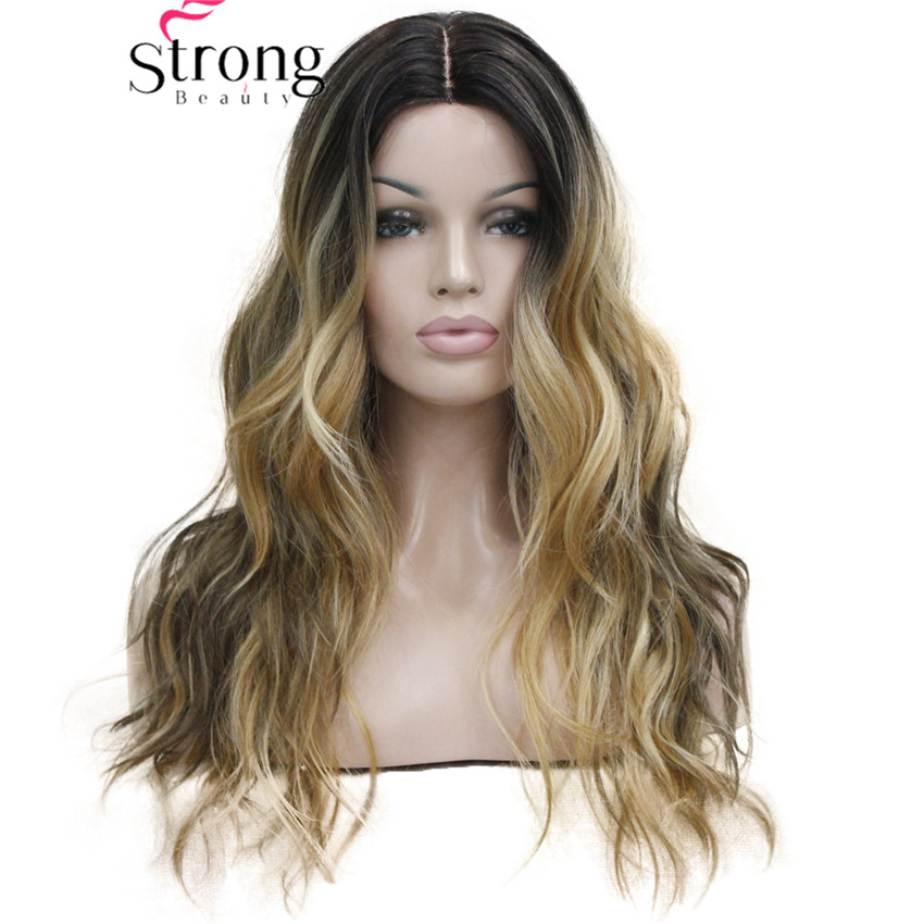 Long Heat Resistant Dark Brown With Golden Blonde Three Tone Ombre Wavy Synthetic Little Lace Front