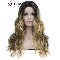 Peluca larga resistente al calor marrón oscuro con Rubio Dorado tres tonos cabello ombré ondulado sintético pequeño encaje frontal largo opciones de color