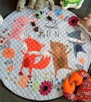 Skyleshine Kids Baby Play Mats Toys Storage Bag Round Carpet Rugs Large Canvas Carpet Fox And Rabbits Kids Toys S2708