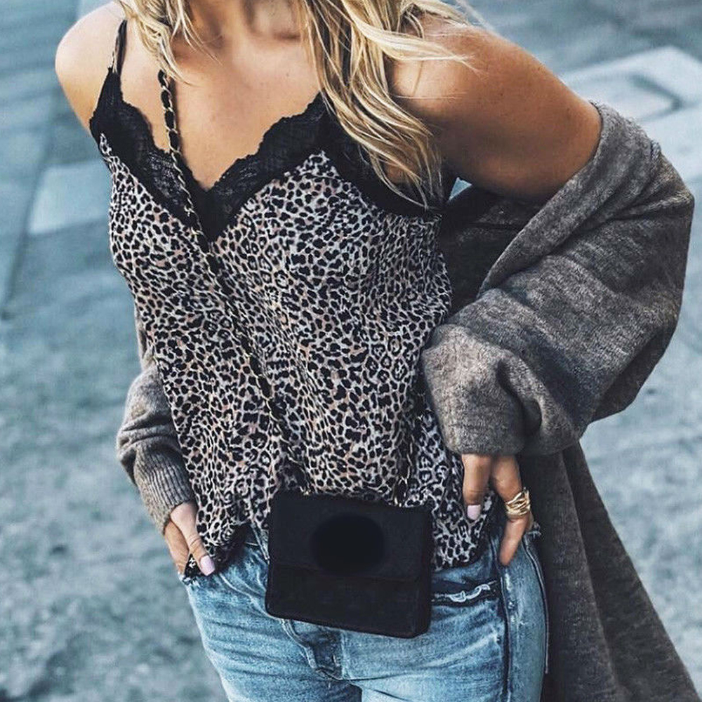 New <font><b>Sexy</b></font> V-Neck Leopard Print Female <font><b>T</b></font>-shirt Women Fashion Lace Tops Sleeveless <font><b>T</b></font> Shirt Top Tee Camis <font><b>haut</b></font> <font><b>femme</b></font> streetwear image