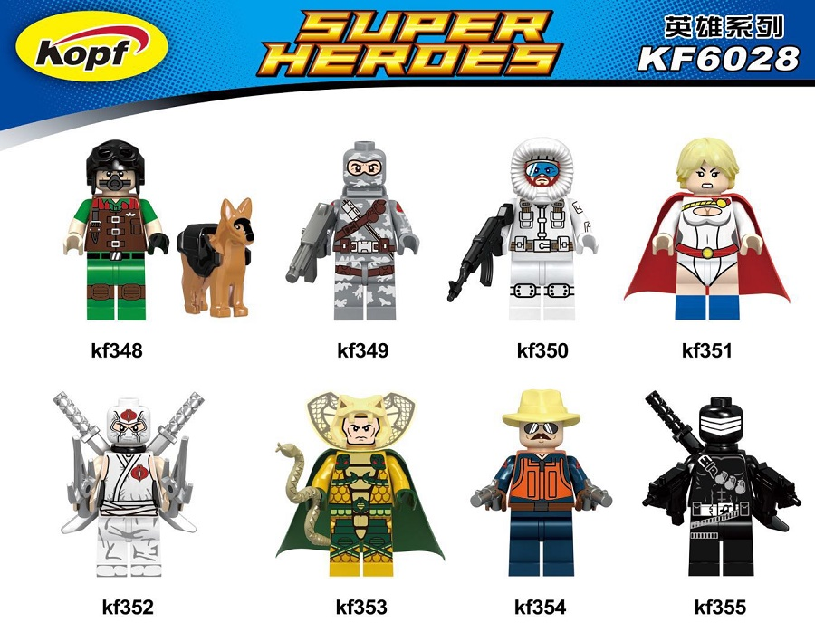 Single Sale Super Heroes Gi Joe Series Matt with Junkyard Dog Firefly Snow Job Power Girl Building Blocks Kids Gift Toys KF6028 blackman malorie snow dog