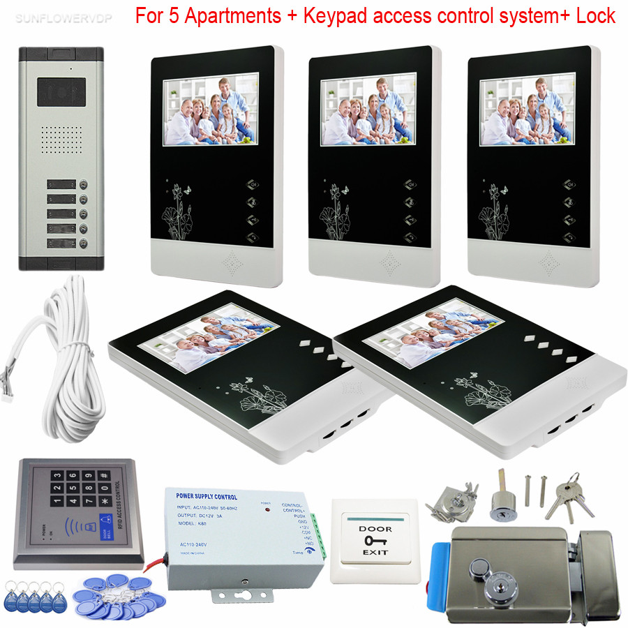 5 Units Video Door Phone Rfid And Code Keypad System Door Intercom 700TVL CCD Camera Color 4.3inch LCD With Eletronic Lock Kit stripe pattern shirt in sweet design