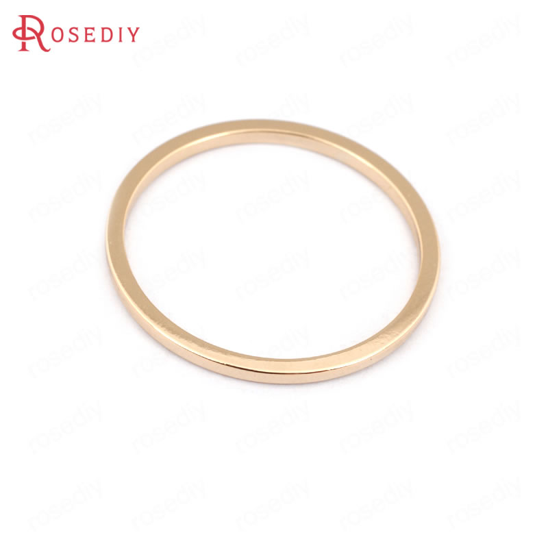 (30600)6PCS 26mm,Thickness 1.5MM 24K Champagne Gold Color Plated Brass Jump Rings Closed Rings Jewelry Accessories