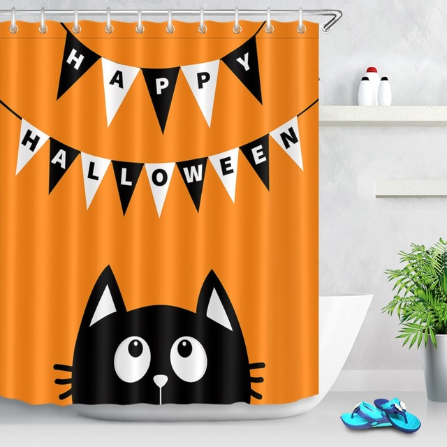 LB Black Cat Face White Hanging Flag Orange Shower Curtain Funny Halloween Waterproof Bathroom Fabric For