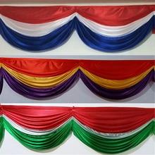 Customized 3 mixed color ice silk swag for wedding backdrop decoration curtain drape 20 feet length design