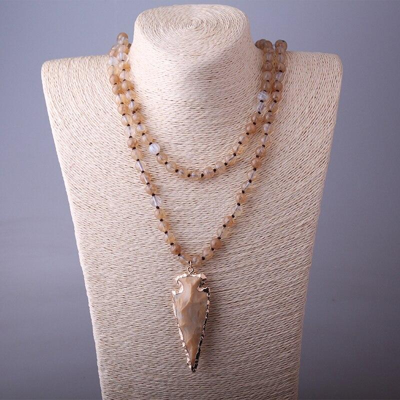 28e7bed66355 Moda 130 cm nudo largo Halsband amarillo ágata piedras Arrowhead colgante  collar hecho a mano PIEDRA Natural en Collares pendientes de Joyería y  accesorios ...