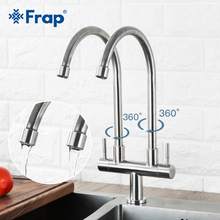 Frap Kitchen Faucet Dual Handle Single Hole Mixer Cold Water 304 stainless steel Sink Tap Y40098