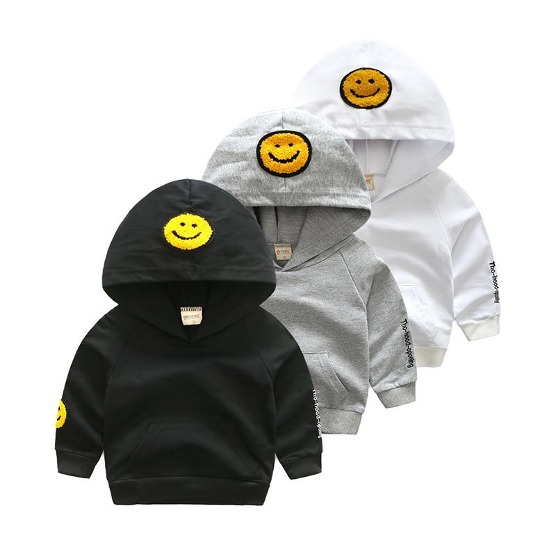 Hoodie Jacket Boys Sweatshirt Kids Tops Children boy Clothing Print Smile Cartoon Causal Cotton long sleeve Children's jacket kids drawstring hoodie jacket