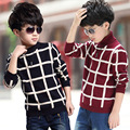 Baby Children Clothing Boys Plaid Knitted Cardigan Sweater Kids Autumn/winter Cotton Outer Wear Boys Hooded Pullover Sweater