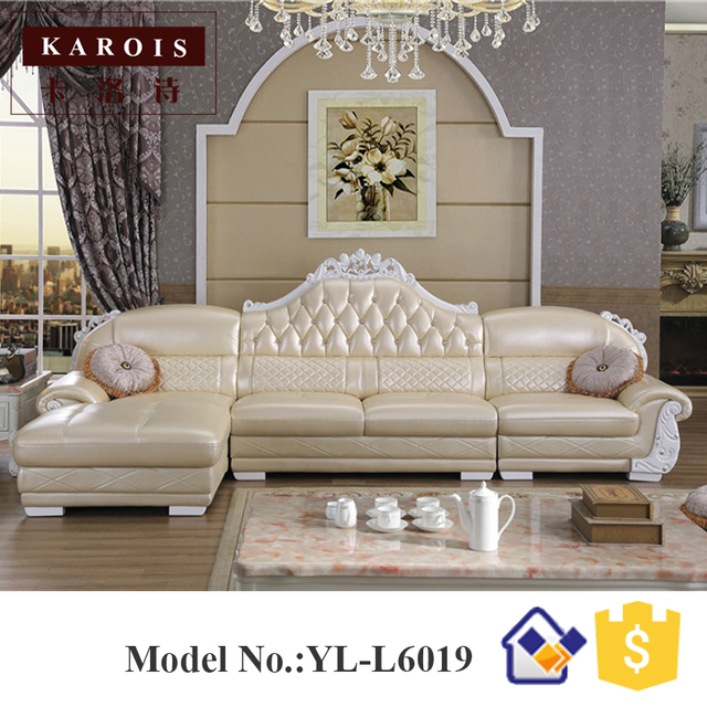 Whole Price Leather Corner Sofa With Chaise L Shaped Furniture White