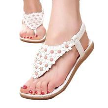 Best Gift New Fashion Women's Sweet Summer Bohemia Beaded Sandals Clip Toe Sandals Beach Shoes Herringbone Sandals Shoes Bea6624