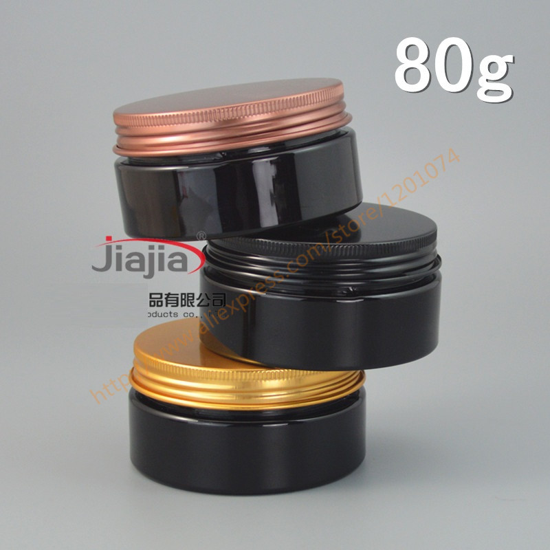 80g black PET Can with Gold/black/bronze aluminum Lid,Plastic Canning Jar Plastic Can Food Can ...