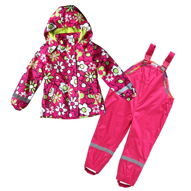 kids wind suit jacket & pants, water resistance suit, kids windproof set, kids spring/autumn clothing set, floral jacket