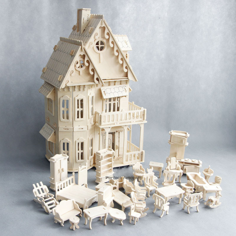 Wooden Dollhouse Miniature Furniture Toy For Dolls DIY Disassembled Doll House Pretend Play 3D Puzzles Toys Gifts For Children