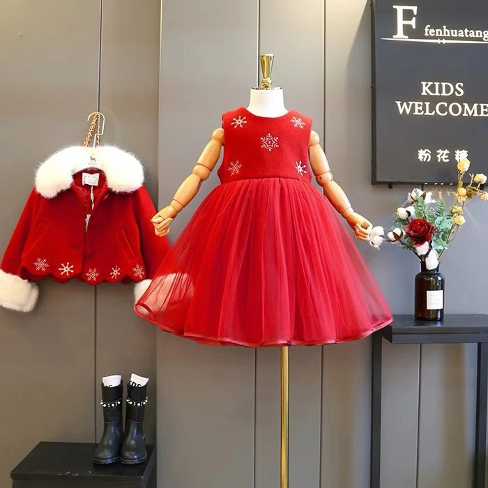 Children's wear 2018 winter new girls mesh stitching vest skirt with fur woolen coat two-piece suit round neck stitching crochet lace vest