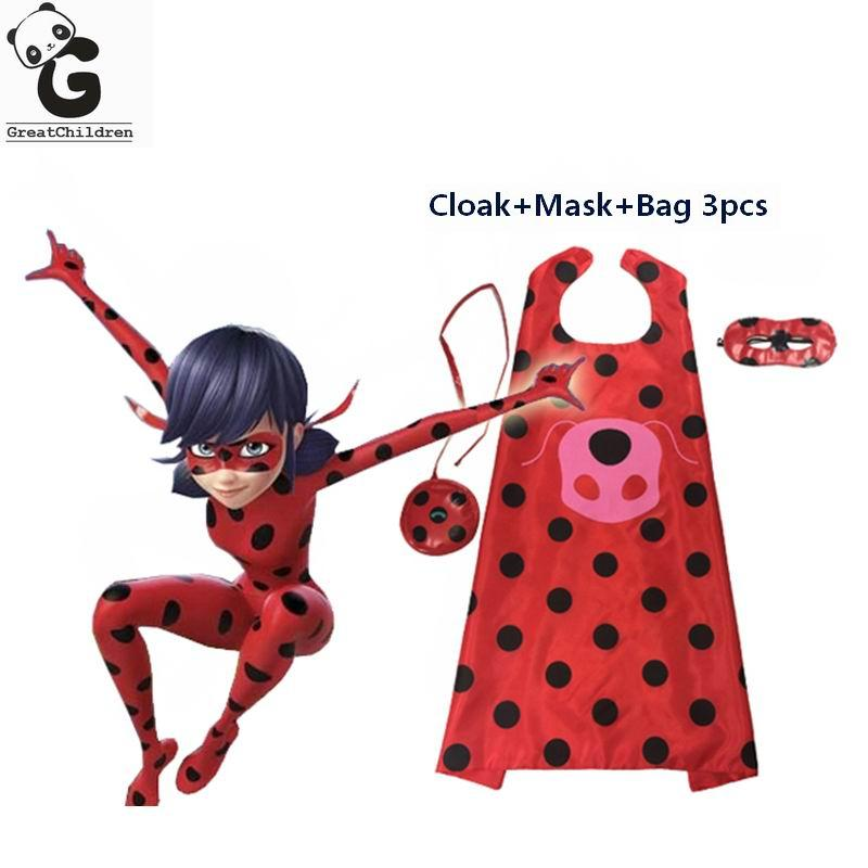 Miraculous Ladybug Cosplay Halloween Christmas Mask Superman Cloak+Mask+Bag 3PCS Girl Clothes Set Ladybug Marinette Costume Suit