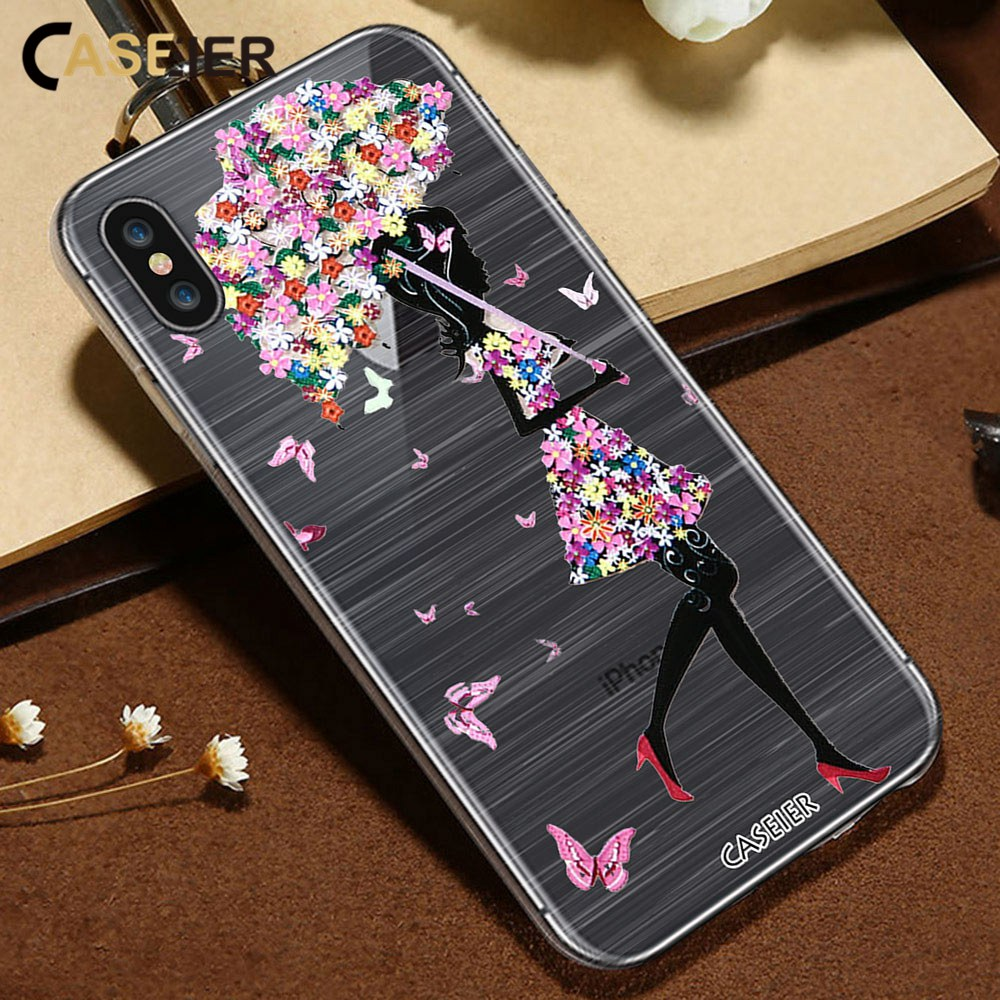 CASEIER 3D Emboss Phone Case For iPhone X 7 Soft TPU Silicone Cases For iPhone 6 6s 8 Plus Umbrella Girl Sexy Funda Capinha