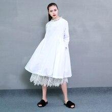 2017 Spring Dress Female Dress Fashion Round Neck Collar Pleated Dress Loose Waist