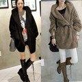 2014 Nova Moda Feminina Casual Engrosse Com Capuz Top Coat Quente Engrossar Casacos Casaco Longo moletom com capuz Cardigan Preto Cinza 35