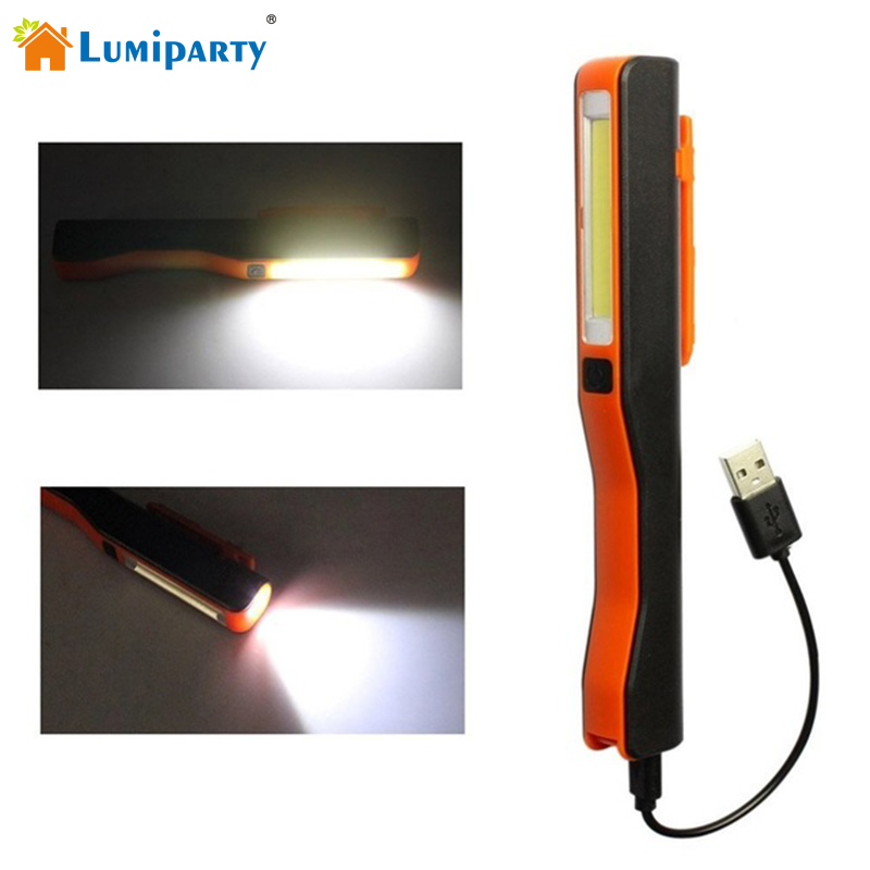 Lumiparty USB Charging LED Flashlight Super Bright COB LED Inspection Light Lamp Mini Pen Pocket Clip Work Torch Flashlight r3 2led super bright mini headlamp headlight flashlight torch lamp 4 models