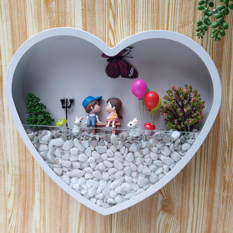 Creative Wall Vase Iron Heart shaped Wall Hanging Artificial Flower Sands Stone Holder Home Decoration Adornment Crafts Vases