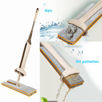 Self Wringing Double Sided Flat Mop Telescopic Handle Mop Floor Cleaning Tool Living Room Kitchen Drop