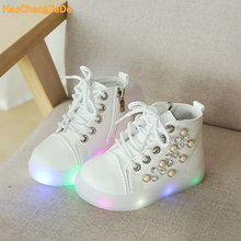 KIDS 2018 Spring Baby Pu Leather Trainer Children Fashion Glitter Casual Shoe Girl Pearl Sport Sneaker Toddler
