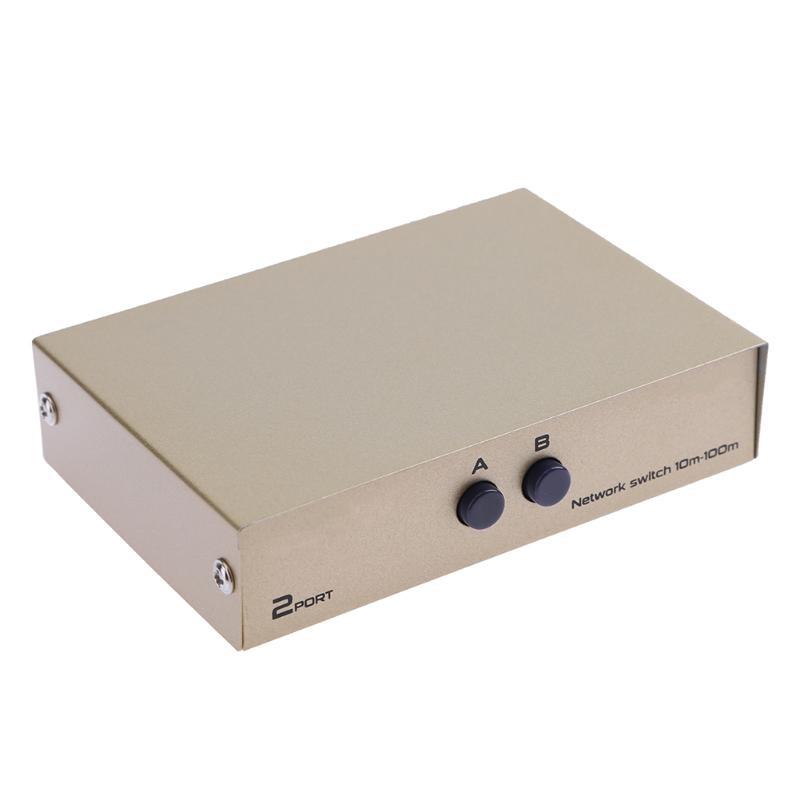 2 In 1 Network Switcher 2 Ports RJ45 LAN CAT Network Switch Selector Internal External Switcher Splitter Box For PC Computer New