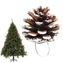 цена на 6 Pcs Christmas 5cm Pine Cones Pendant with String Natural Wood Christmas Tree Decoration @ YJS Dropship