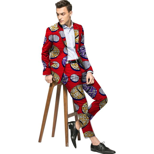 Chaquetas y pantalones set hombres de la moda de impresión africa africano dashiki trajes hechos a medida ropa blazer + pant sets fiesta africana
