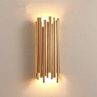 Пост современный Дизайн Брубек настенные лампы scone fashion cafe дом освещение украшения светодиодный золото Алюминий трубки Брубек стены свет