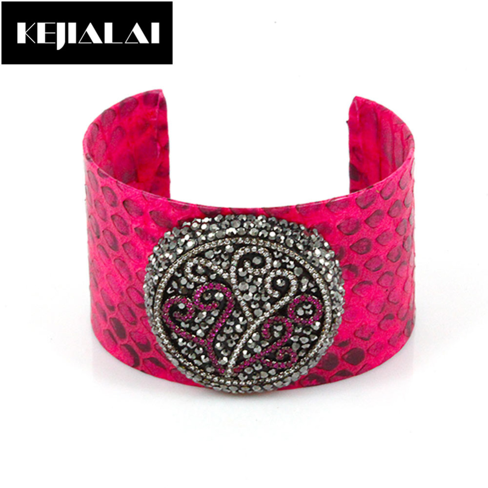 2017 Fashion Women Jewelry Snake Leather Python Leather Bangle Adjustable  Open Cuff Pave With Crystal Rhinestone