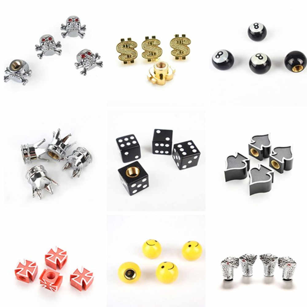 4Pcs Multi Bicycle Tire Valve Caps Dice Ball Star Crown Shape Bike Tyre Wheel Stem Air Valve Cap Auto Truck Airtight Caps