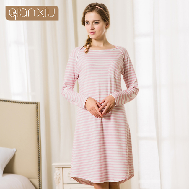 Qianxiu 2016 Brand Knee-Length Nightgown Spring Autumn Striped Cotton Sleepshirts Women Long-sleeve Casual Style Sleepwear 1666