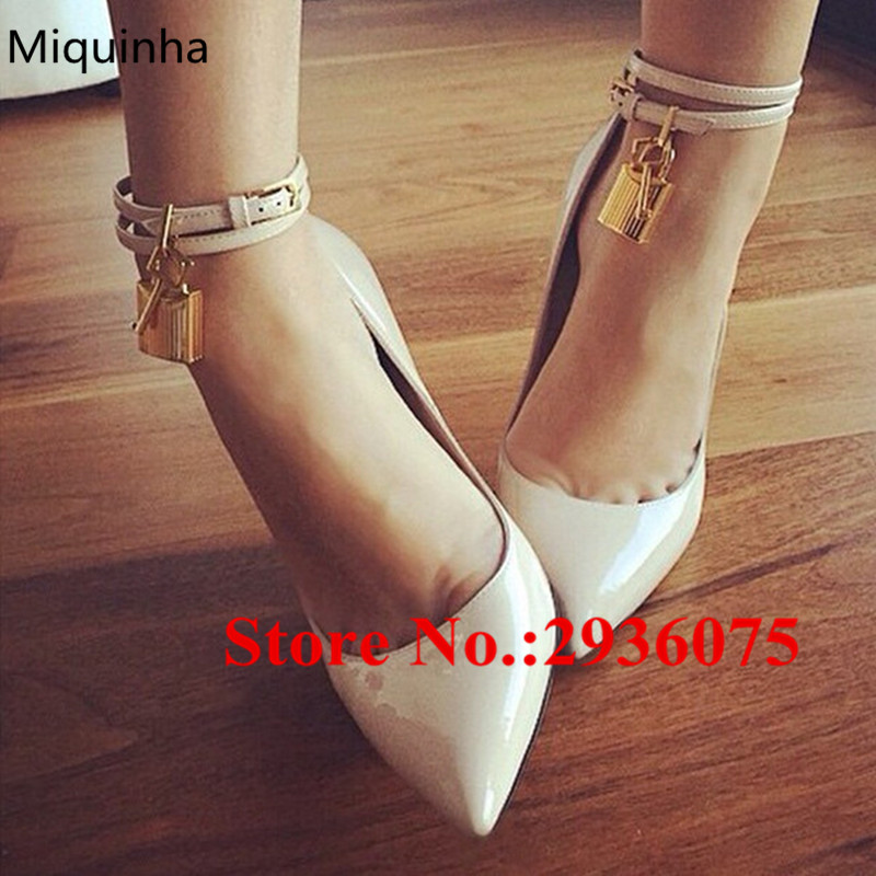 Sexy Nude Patent Leather Ankle Strap Stiletto High Heels Dress Sapato Feminino Hot Padlock Embellished Pointed Toe Strappy Pumps цены онлайн
