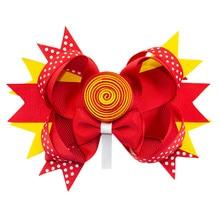 Adogirl 5 Inch Lollipop Cute Girls Hair Bows with Clips Ribbon Handmade Boutique Accessories Kids Headwear Hairpins