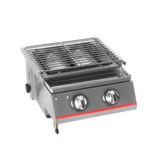 Grill à infrarouge pour Barbecue, 2 brûleurs, en acier inoxydable, plaque de torréfaction antiadhésive pour Barbecue, pour Camping en plein air