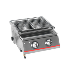 Stainless steel BBQ Grill 2 Burners Gas Barbecue Infrared Gas Burner Nonstick Roasting Tray gas grill For Outdoor Field Campin stainless steel bbq grill gas barbecue roaster gas infrared grill commercial household bbq gas oven smokeless gas oven ye102
