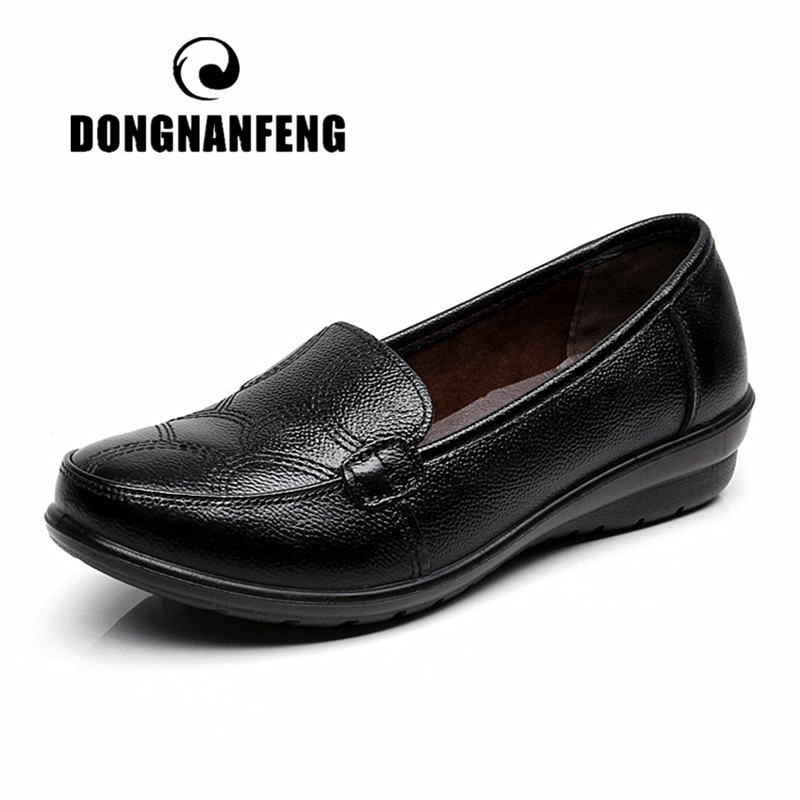 DONGNANFENG Women Old Mother Female Ladies Cow Genuine Leather PU Shoes Flats Non Slip On Loafers Casual Round Soft 35-43 TB-276