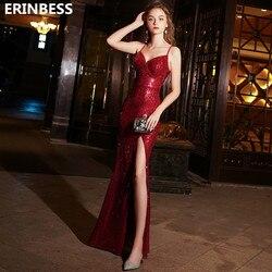 Платье для выпускного бала, красное, с блестками, без рукавов, 2019